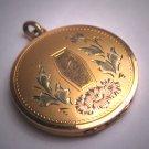 Antique Victorian Floral Garnden Gold Locket Necklace Vintage Rose Yellow Gold c.1920