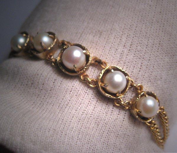 Antique Pearl Link Bracelet Gold Upon Silver Japanese Akoya c.1920 Art Deco
