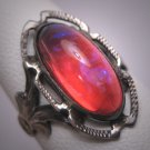 Antique Dragons Breath Opal Ring Victorian Art Deco Silver c.1900