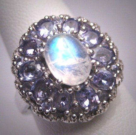 Vintage Moonstone Tanzanite Ring Retro Art Deco Wedding