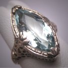 Vintage Marquise Aquamarine Diamond Ring Estate Art Deco Antique Wedding 1920