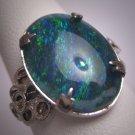 Antique Australian Black Opal Ring Vintage Art Deco Wedding Estate