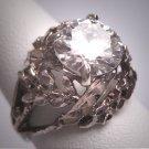 Antique White Sapphire Wedding Ring 2.5ct Vintage Retro Art Deco 1950