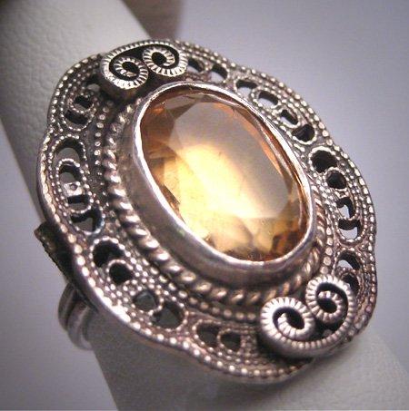Antique Golden Citrine Ring Wedding Vintage Art Deco Ornate Filigree c1900