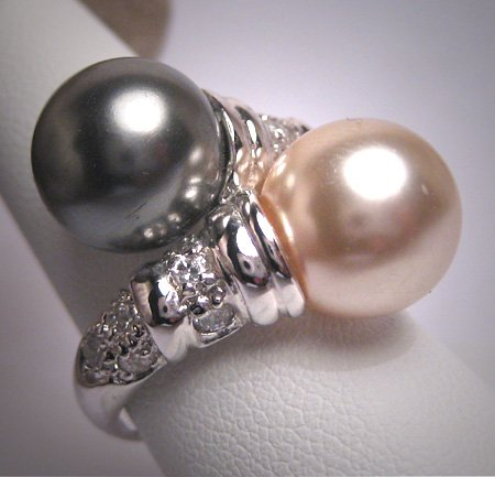 Vintage 12mm Majorca Pearl Ring Sterling Silver Black White South Sea Look