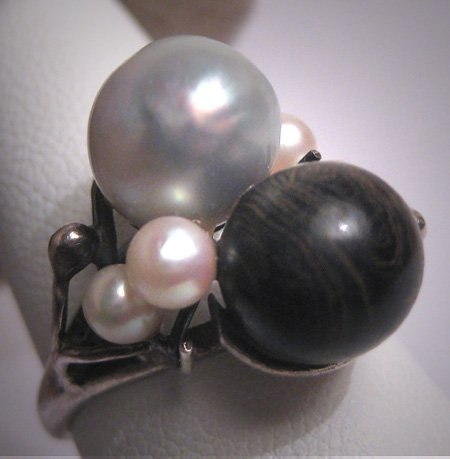 Antique Blue Baroque 8mm Pearl and Black Coral Ring Japanese Akoya Vintage Deco Wedding