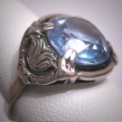 Antique Aquamarine Ring Wedding Vintage Art Deco Floral Filigree c1920