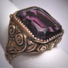 Antique Emerald Cut Amethyst French Paste Ring Victorian Art Deco c.1900