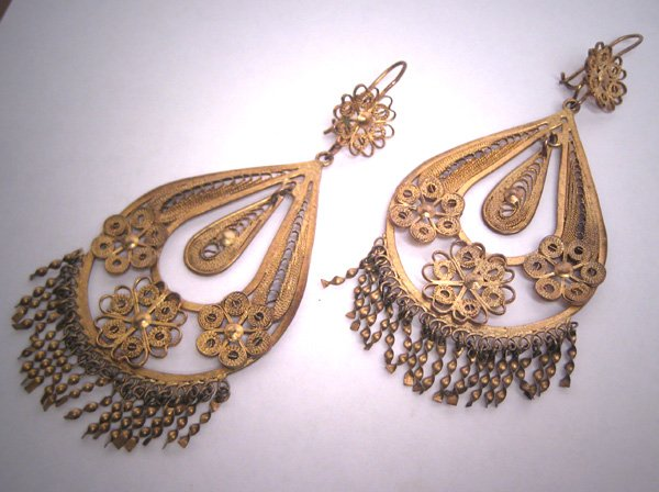 SOLD Large Antique Gold Earrings Oaxaca Mexican Vintage Art Deco 1930