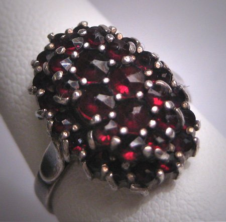Antique Victorian Bohemian Garnet Ring Vintage Wedding c.1900