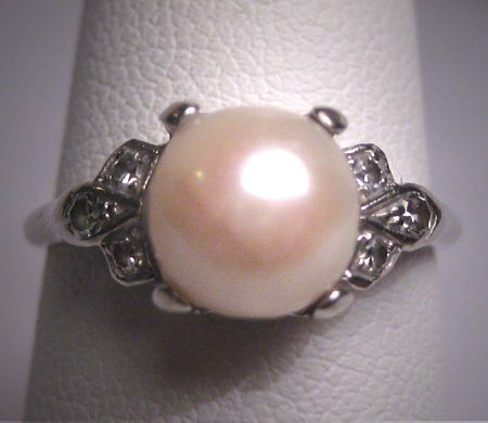 Antique Pearl Diamond Wedding Ring White Gold Art Deco 1930