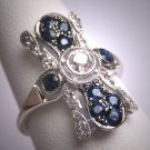 Antique Old Euro Cut Diamond Sapphire Wedding Ring Vintage Art Deco 1920