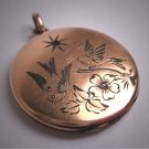 Rare Antique Bird Flower Locket Vintage Wedding Pendant Rose Gold c.1900