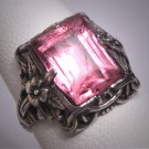Antique Pink Sapphire Ring Vintage Silver Filigree Wedding Victorian Art Deco 1920