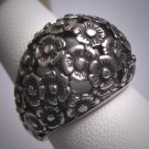 Antique Floral Dome Ring Vintage Victorian Sterling Silver Flowers c.1900
