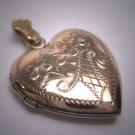 Antique Victorian Gold Locket Pendant Vintage Floral Basket Heart 1920