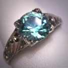 Antique Blue Zircon Wedding Ring Vintage Art Deco 18K White Gold Floral c.1920