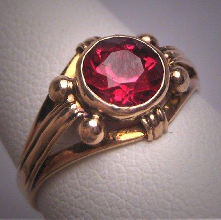 Antique Ruby Wedding Ring Gold Victorian - Art Deco c.1900