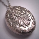 Antique Victorian Floral Repousse Pedant Necklace Sterling Silver Vintage 1800s Wedding Bridal