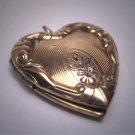 Ornate Antique Gold Heart Locket Necklace Vintage Victorian Floral 1920