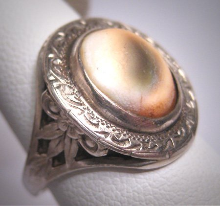Antique Victorian Operculum Shell Pearl Ring Vintage Estate Silver Filigree Floral 1800s