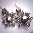 Rare Antique Georgian Rose Cut Diamond Earrings 1700's Silver Pre Victorian