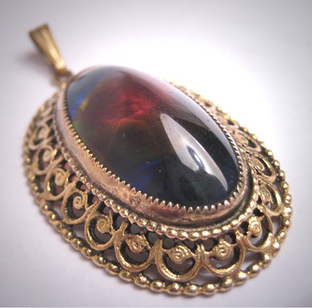 Vintage Large Rainbow Art Glass Pendant Necklace Victorian Revival Filigree