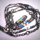 Rare Antique Enameled Chain Necklace Art Deco Silver c.1920 Vintage