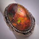 Vintage Fire Opal Ring 8ct Antique Retro Modernist 50s