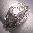 Rare Antique Platinum Diamond Wedding Ring Set w/Band Art Deco .70ctw Engagement 1930's