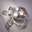 Antique Diamond Wedding Ring Floral Band Vintage Art Deco 1950