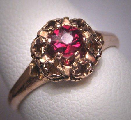 Antique Bohemian Garnet Wedding Ring Vintage Art Deco Victorian Gold c.1900
