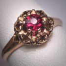 Antique Bohemian Garnet Wedding Ring Vintage Art Deco Victorian Gold c.1900