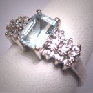 Vintage Aquamarine Diamond Wedding Ring Art Deco White Gold Engagement Band