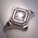 Antique Old Euro Cut Diamond Sapphire Wedding Ring Vintage Ostby Barton 18K White Gold c.1900