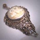 Antique Victorian Cameo Neo-Classic Pendant Goddesses Silver Italian Filigree