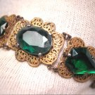 Antique Emerald Paste Bracelet Vintage Filigree Art Deco c.1920