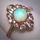 Vintage Australian Opal Diamond Ring Retro Art Deco Antique Wedding 1950