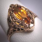 Antique Citrine Ring Vintage Edwardian Art Deco Filigree Wedding Gold c.1910