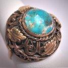 Antique Czech Large Turquoise Ring Vintage Art Deco Victorian 1920