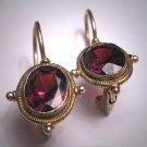Vintage Georgian Victorian Revival Oval Garnet Earrings