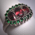 Vintage Green and Red Garnet Wedding Ring Band Estate Victorian Art Deco