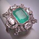 Antique 3ct Emerald Diamond Ring Vintage Art Deco Wedding Palladium 1930