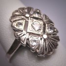 Vintage White Sapphire Wedding Ring Retro Art Deco Band 1930