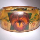 Rare Antique Applejuice Bakelite Reverse Carved Pansy Bangle Bracelet Floral 1930s Vintage Amber