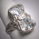 Vintage Aquamarine Diamond Ring Estate Art Deco Antique Wedding 1920 Bow and Basket Motif