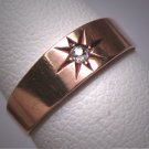 Antique Diamond Wedding Ring Band Victorian Rose Cut Rose Gold 1800's