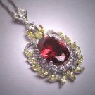 Antique Edwardian Style Simulated Red Yellow White Diamond Necklace Vintage Victorian Silver