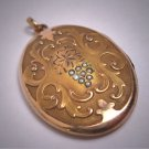 Rare Antique Gold  Seed Pearl Locket Floral Grape Motif Art Nouveau Victorian 1900