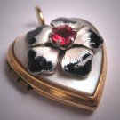 Antique Victorian Ruby Locket Enamel Mother of Pearl Gold Pendant Vintage Heart 1920 Puffy Heart
